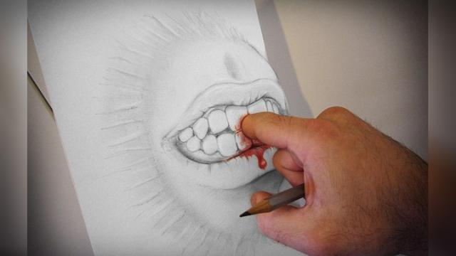 铅笔画立体艺术以假乱真