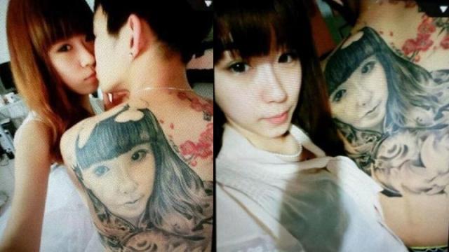 把女朋友纹在自己的背上图片
